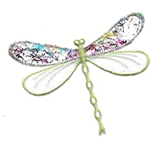 DKAORU Dragonfly - Insect - Confetti Layered Green Iron On Applique Patch Happy crafting