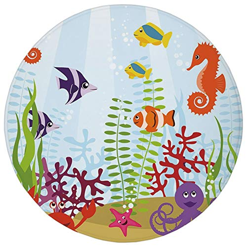 Round Rug Mat Carpet,Aquarium,Friendly Sea Animals Tropical Aquatic Habitat Collection Seahorse Crab Octopus Decorative,Multicolor,Flannel Microfiber Non-slip Soft Absorbent,for Kitchen Floor Bathroom