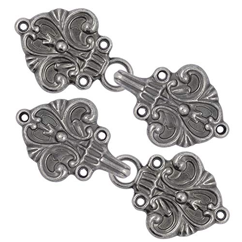 Bezelry 4 Pairs Fleur De Lis Cape or Cloak Clasp Fasteners. 70mm x 26mm. Fastened. Sew On Hooks and Eyes Cardigan Clip (Gray Silver)