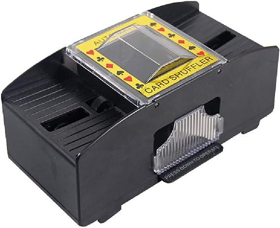 Longzhou Card Shuffler Automatic Wood Card Shuffler Automatic M/áquina de Juego de Cartas con bater/ía para 2 Barajas de p/óker Ideal para Uso dom/éstico y en torneos