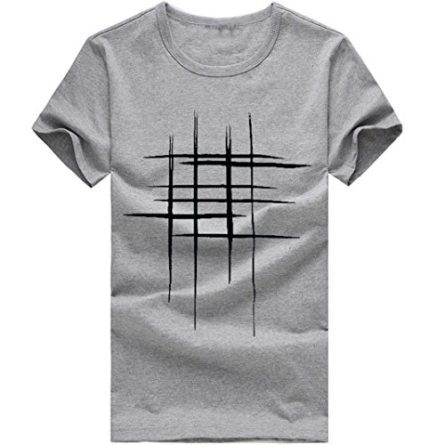 Stampe In Cotone Casual Camicia Divertente Elecenty T Da shirt Grigio Uomo qfZw0BYgPt