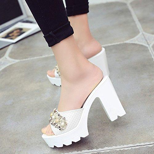 Pesci scarpe donna Acqua Spesso Pantofole 10Cm da Fico Fiori Scarpe Estate GTVERNH A Tacchi estive Bocche Donne Sandali I Spillo China white In Tacchi Trapano twHF7qE