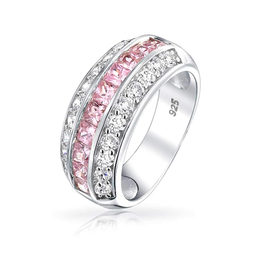 925 Channel Set Pink Cubic Zirconia Wide Half Eternity Ring