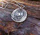 Outlander necklace - Fine Silver Wax Seal - Je Suis Prest - Exclusive - FREE SHIPPING IN U.S.