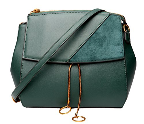 Leather Cross Bag Ladies Womens Shoulder Body Purse Dark Handbags Bags Designer Green Heshe Fqw4F