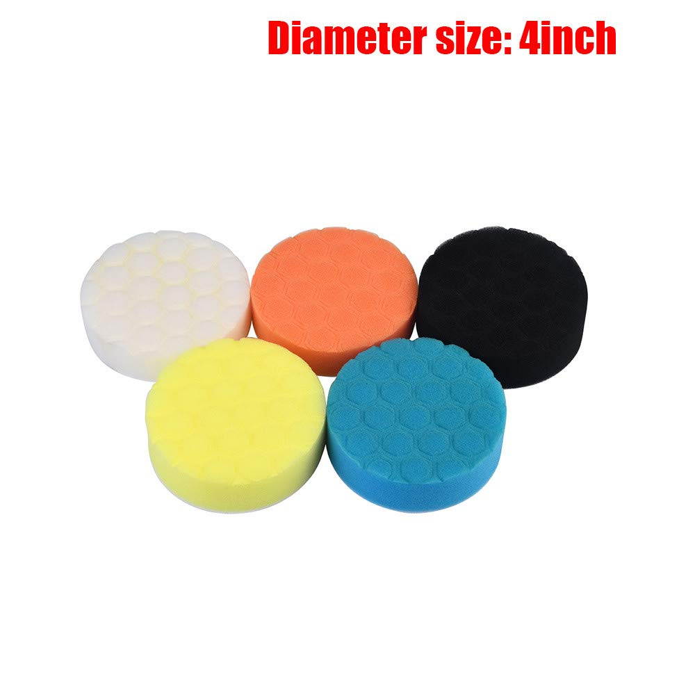 Quaanti 5PCS 3/4/5/6/7 Inch Car Sponge Polishing Pad Colorful Waxing Buffing Pads for Car Polisher New Arrival 2018 (D/4 Inch)