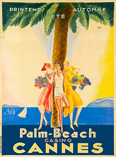 A SLICE IN TIME Palm-Beach Casino Cannes France French Riviera European Europe Vintage Travel advertisement Art Poster Print. Poster measures 10 x 13.5 inches from A SLICE IN TIME
