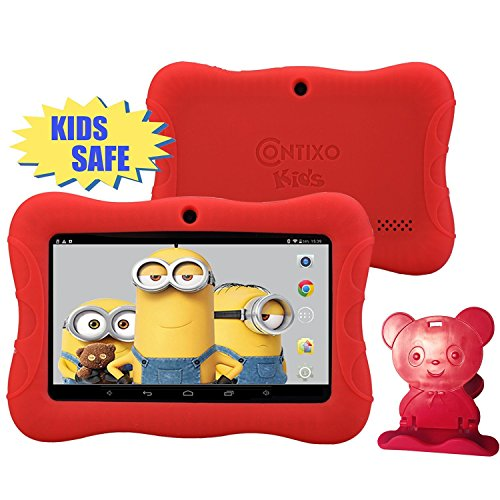 HOLIDAY SPECIAL! Contixo KiDOZ Kid Safe 7'' HD Tablet WiFi 8GB Bluetooth, Free Games, Kids-Place Parental Control W/ Kid-Proof Case (Red) - Best Gift For Christmas by Contixo