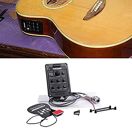 Tamlltide Fishman - Afinador de guitarra acústica, ecualizador ecualizador, 4 bandas, color negro