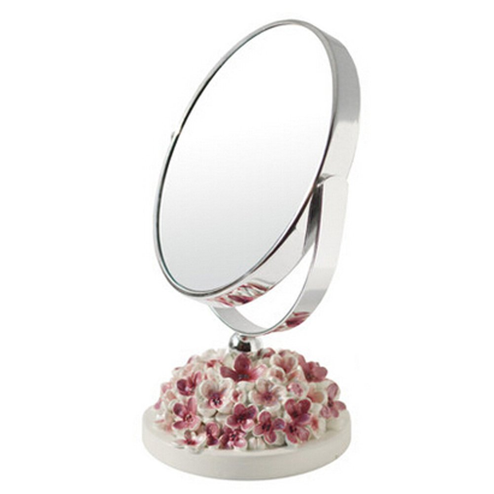Continental Make-up Mirror 5-Inch Tabletop Two-Sided Cosmetic Mirror White/Pink Blancho Bedding