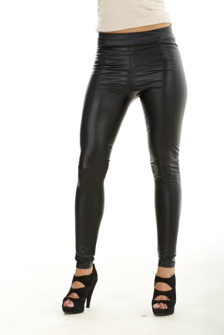 8e2c4a06f7ff28 Ex River Island Black Womens Coated High Rise Leggings: Amazon.co.uk:  Clothing