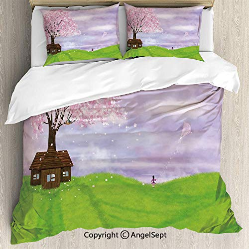 3 Piece Duvet Cover Set, (1 Quilt Cover 2 Pillow Shams) Single House by Blooming Spring Tree and Little Girl with Kite Idyllic Picture,King Size,for Bedroom,Guest Room,Lime Green Lilac