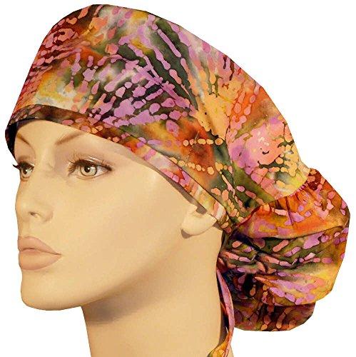 Big Hair Women's Scrub Cap - Purple Lines Batik (Batik Earth)