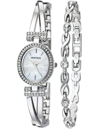 Women's 75/5381MPSVST Swarovski Crystal Accented Silver-Tone Bangle Watch and Bracelet Set