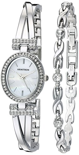 5381MPSVST Swarovski Crystal Accented Silver-Tone Bangle Watch and Bracelet Set (Crystal Silver Tone Metal)