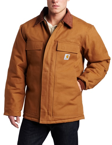 Jacket Style Traditional - Carhartt Men's Big & Tall Arctic Quilt Lined Duck Traditional Coat C003,Brown,XX-Large Tall