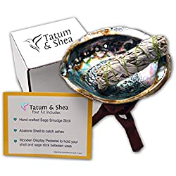 Smudging Kit with Abalone Shell, Wooden Tripod, White Sage Smudge Stick.(Large Size)