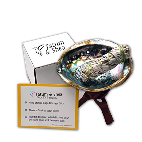 Smudging Kit with Abalone Shell, Wooden Tripod, White Sage Smudge Stick..(Large Size) From Tatum & Shea