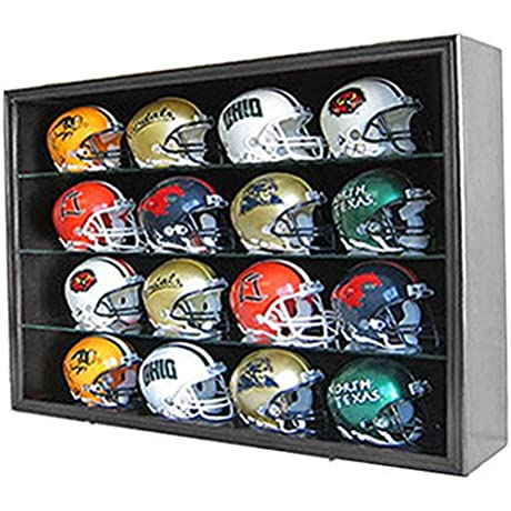 Black Finish 16 Mini Football Helmet Display Case Holder Shadow Box Frame Solid Wood