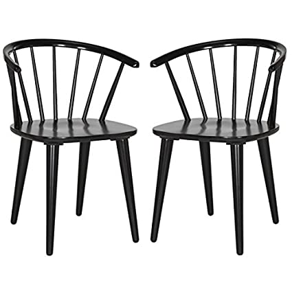 check out bd229 b4f5d Safavieh American Homes Collection Blanchard Country Farmhouse Black  Spindle Side Chair (Set of 2)