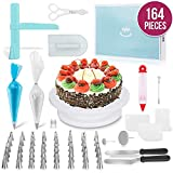 Whryspa 164 Pieces Professional Cake Decoration Turntable kit Pastry Tools Cake Decorating Tip Set Piping Tips Tools Supplies