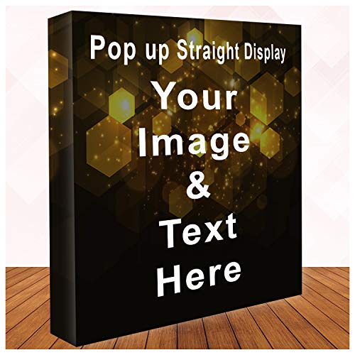 Fabric Pop Up Straight Display, Trade Show Display Backdrop Booth, Aluminium Pop Up Frame, Outdoor Business Advertising Stand, Graphic with Hardware(8' X 8') ()