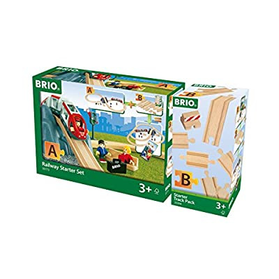 BRIO World - 33394 Starter Track Pack | 13Piece Wooden Train Tracks For Kids Ages 3 & Up: Toys & Games