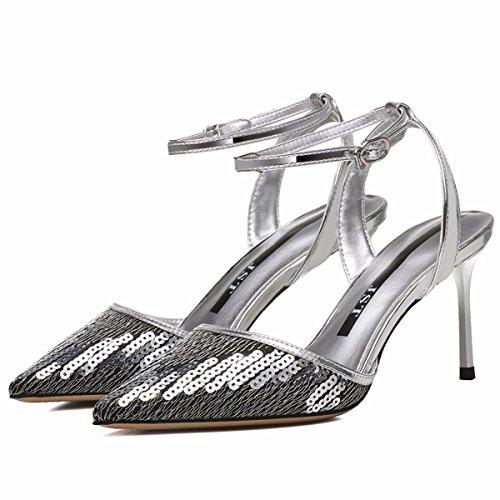 Altos Sexy Black JRFBA Hebilla Tacones una Zapatos Sandalias Zapatos Sexy Verano de Mujer Baotou Palabra con Sola Tqwr0axXw