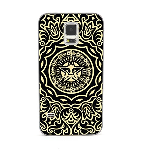 Euclid+ - Gold Line Pattern Obey Flower Embossed Design Grey Bumper Metal Frame Full Armor Protect Case Cover for Samsung Galaxy S5