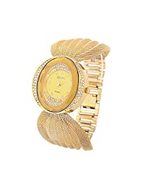 Cokoo Fashion Style Golden Net Chain Women's Wrist Watch Gold