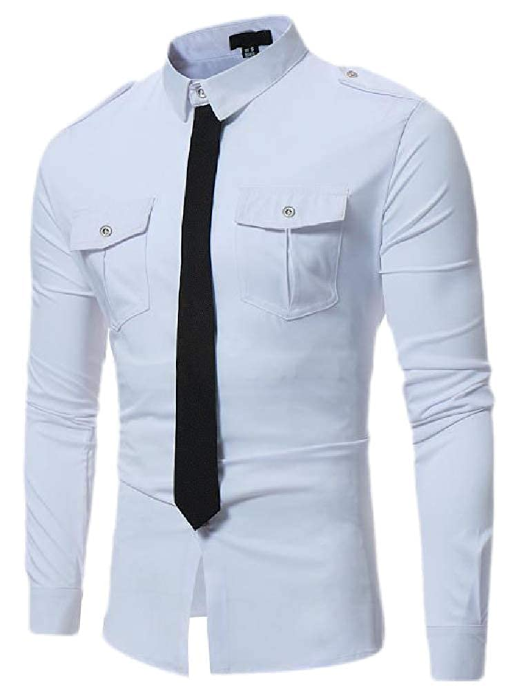 Cromoncent Mens Long Sleeve Tie Curved Hem Button Down Shirts with Pocket