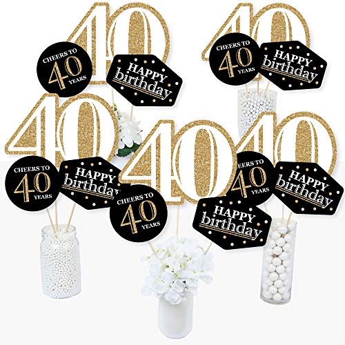 Table Centerpiece Party Birthday (Adult 40th Birthday - Gold - Birthday Party Centerpiece Sticks - Table Toppers - Set of 15)