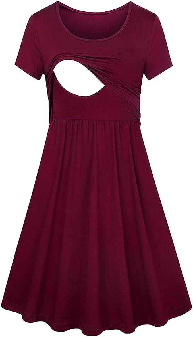 Women Pregnant Maternity Nursing Stripe Breastfeeding Summer Backless Midi Dress