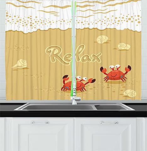 Crabs Decor Kitchen Curtains by Ambesonne, Funny Summer Card with Cute Crabs on the Beach Holiday Theme Print, Window Drapes 2 Panels Set for Kitchen Cafe, 55W X 39L Inches, Sand Brown and White