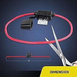 Nilight NI-FH01 Inline Fuse Holder 14AWG Wiring Ha