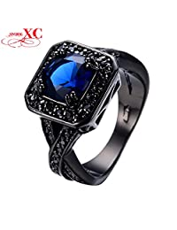 Myn Jewelry New Classical Big Men Blue Ring Black Gold Filled Jewelry Vintage Wedding Ring For Men Bague Homme RB0236