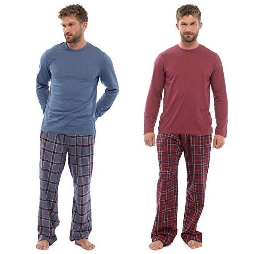 Uomo-Set-Pigiama-Maglione-A-quadri-Tessuto-Pantaloni-PJ-Notte-Abbigliamento-Casual-pigiama