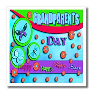 ht_22477_3 Beverly Turner Grandparents Day Design - Grandparents Day Butterflies Dragonfly and Flowers Blue - Iron on Heat Transfers - 10x10 Iron on Heat Transfer for White Material