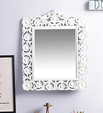 Artesia Square Shape Wall Decorative Mirror Frame White: Amazon.in ...