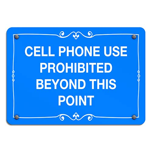 Cell Phone Use Prohibited Beyond This Point No Aluminum Weatherproof Metal Sign Horizontal Street Signs (No Cell Phone Use Beyond This Point Sign)