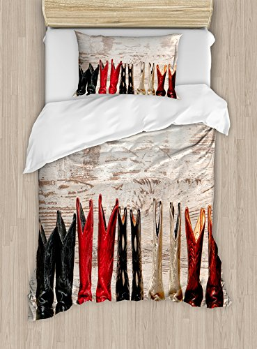 Wild West Theme Ideas (Western Duvet Cover Set by Ambesonne, American Legend Cowgirl Leather Boots Rustic Wild West Theme Folkart Print, 2 Piece Bedding Set with 1 Pillow Sham, Twin / Twin XL Size, Beige Red Black)