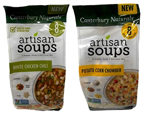 Canterbury Naturals Non-GMO Artisan Soup Mix 2 Flavor Variety Bundle, (1) each: White Chicken Chili, and (1) Potato Corn Chowder (7.5-10.4 Ounces)