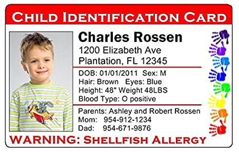 set Amazon Custom Full Color co Cards Id Travel Products Of Lost uk Personalized 101 Office Child red 2 Identification Card