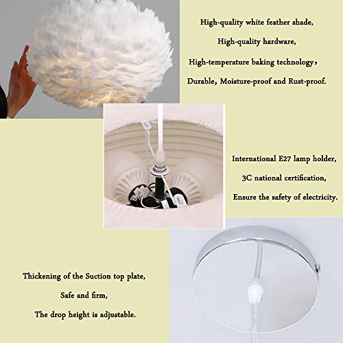 White Feather Ceiling Pendant Light Shade, Large Size 16 Inch Simple Luxury White Feather Ball E27 Lampshade Floor Lamp Decorative Droplight Shade for Living Room Bedroom by LOVFASHION (Image #6)
