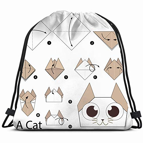 (step by instructions how make the arts origami Special Backpack Sack Bag Gym Bag For Men & Women 17X14 Inch)