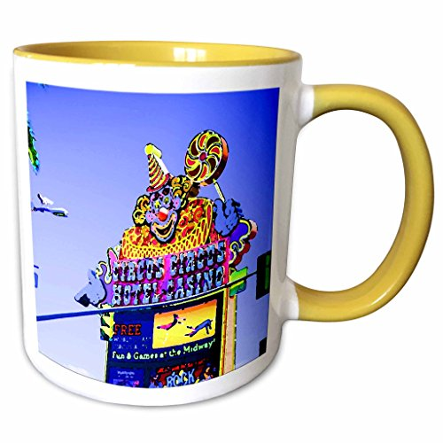 3dRose Jos Fauxtographee Realistic - A Painted-look Circus sign in Las Vegas, Nevada on The strip - 11oz Two-Tone Yellow Mug - Las Vegas Outlet In Nevada