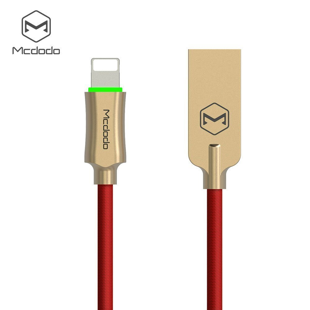 Smart LED Auto Disconnect Lightning Cable, Mcdodo 6FT/1.8M Lightning to USB Nylon Braided Sync Charge USB Data Cable for iPhone X/8/8 Plus/7 Plus/7, iPod and iPad (Red) by B4Uebuy