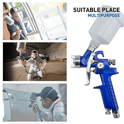 VOYLET HVLP Mini Gravity Feed Air Spray Gun - Pattern & Fluid Control Handheld Sprayer - Pneumatic Painter 1.0 mm Nozzle 4.2 oz POM Cup by VOYLET (Image #6)