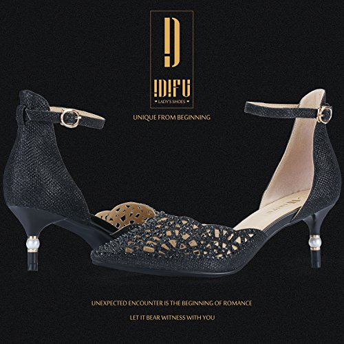 Image of IDIFU Women's IN2 Candice Rhinestones Sequins Mid Heels Stiletto Wedding Pump
