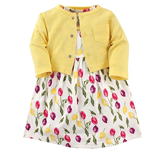 Luvable Friends Baby Girls Dress and Cardigan Set, Tulips 2 Piece, 4T